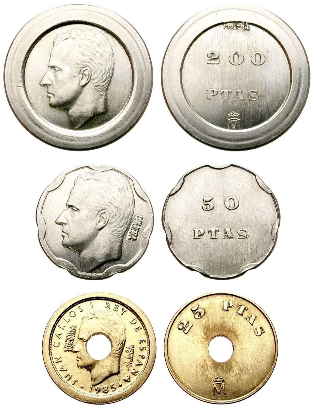 Pruebas 200 50 y 25 pesetas. Juan Carlos I Prueba13