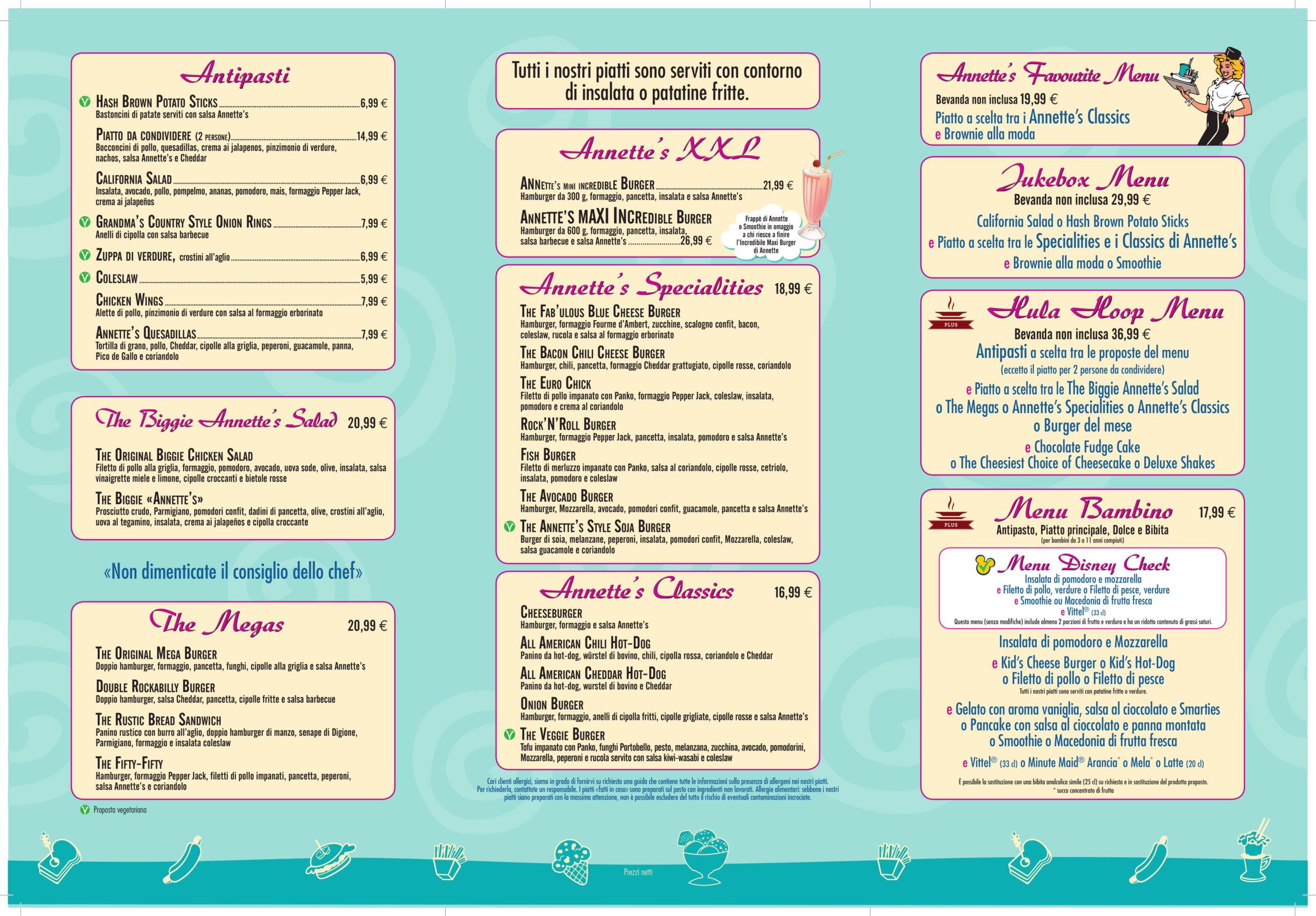 Menu ristoranti servizio al Tavolo Annett12