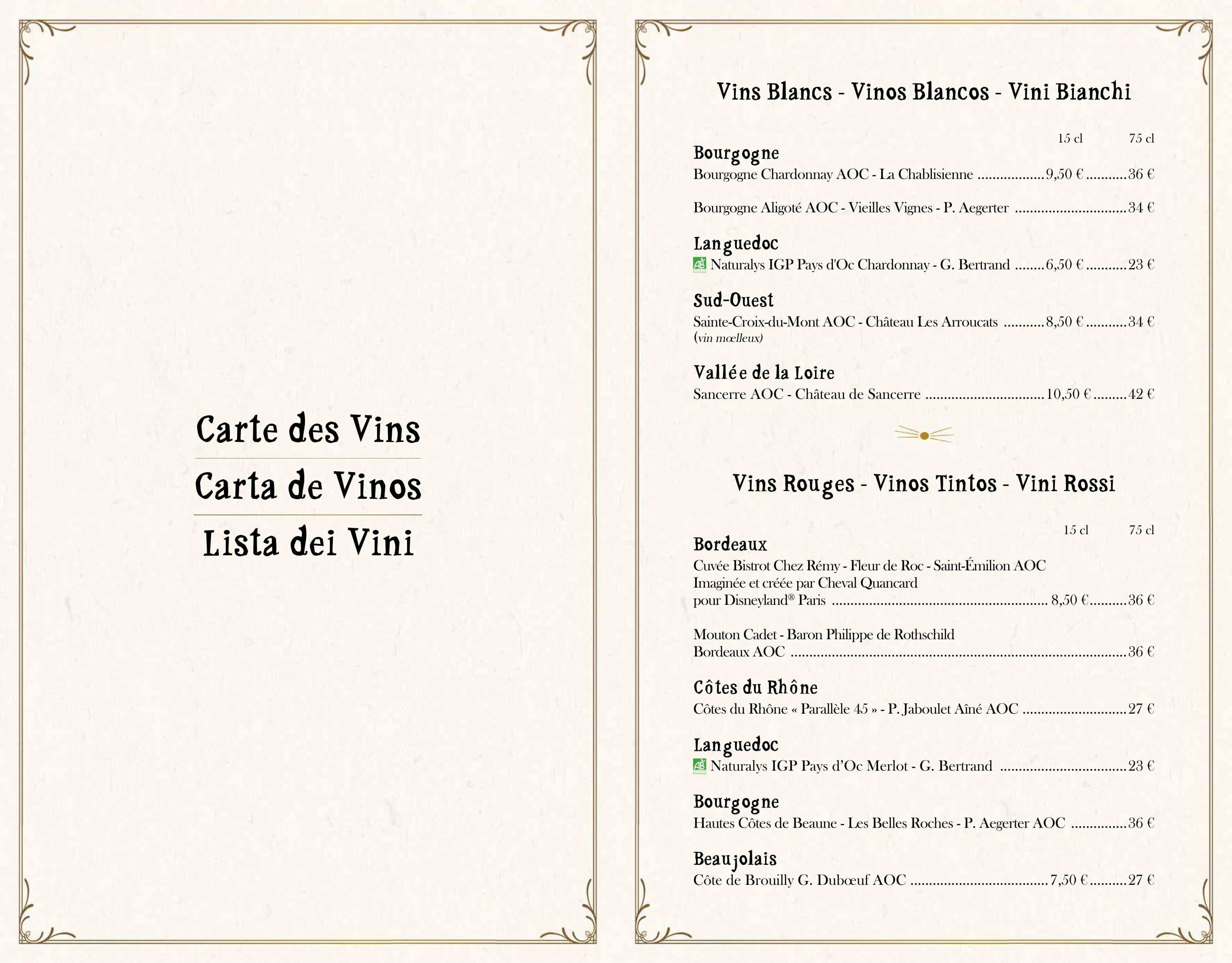 Menu ristoranti servizio al Tavolo Bistro14