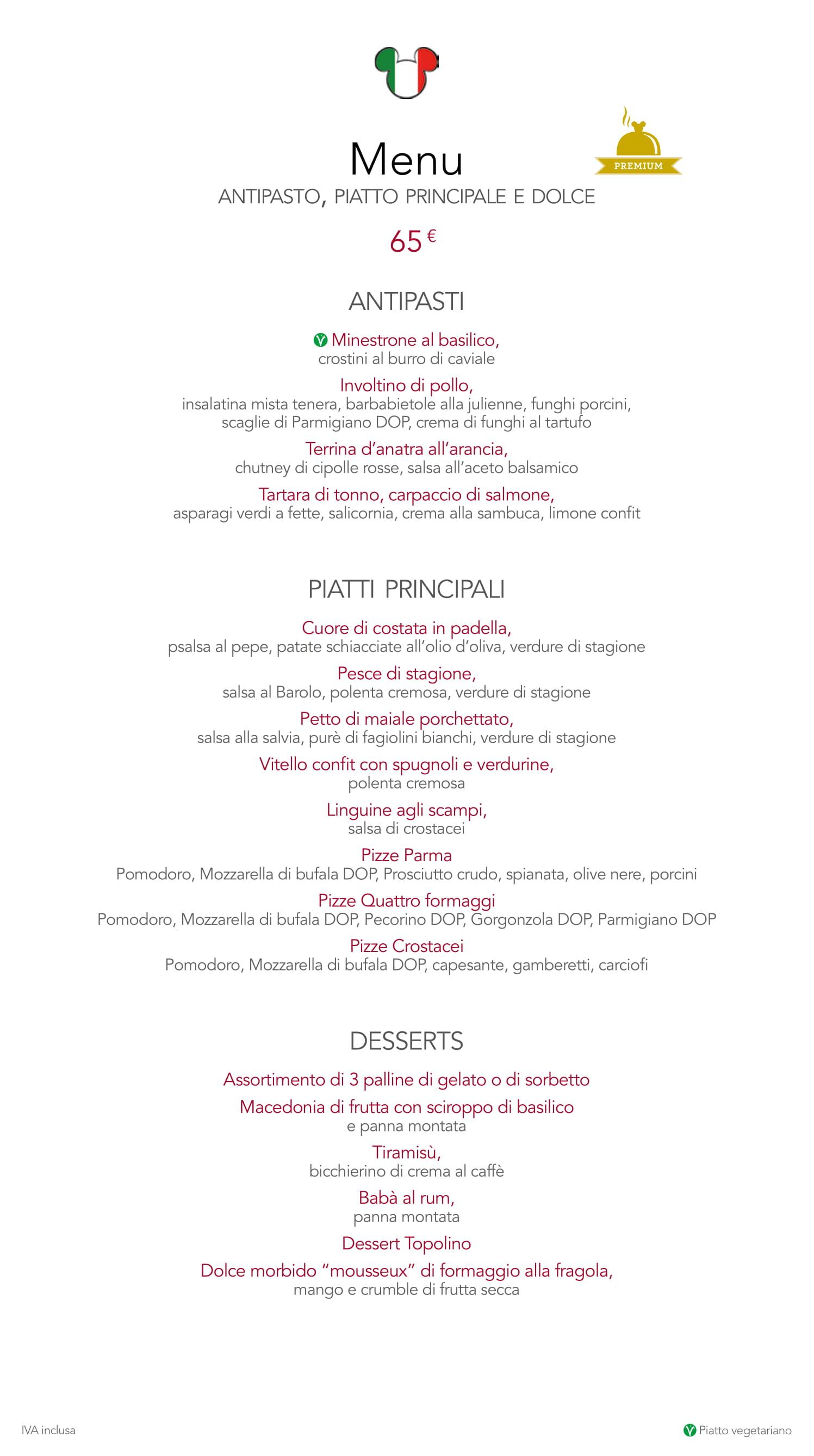 Menu ristoranti servizio al Tavolo Cafemi12