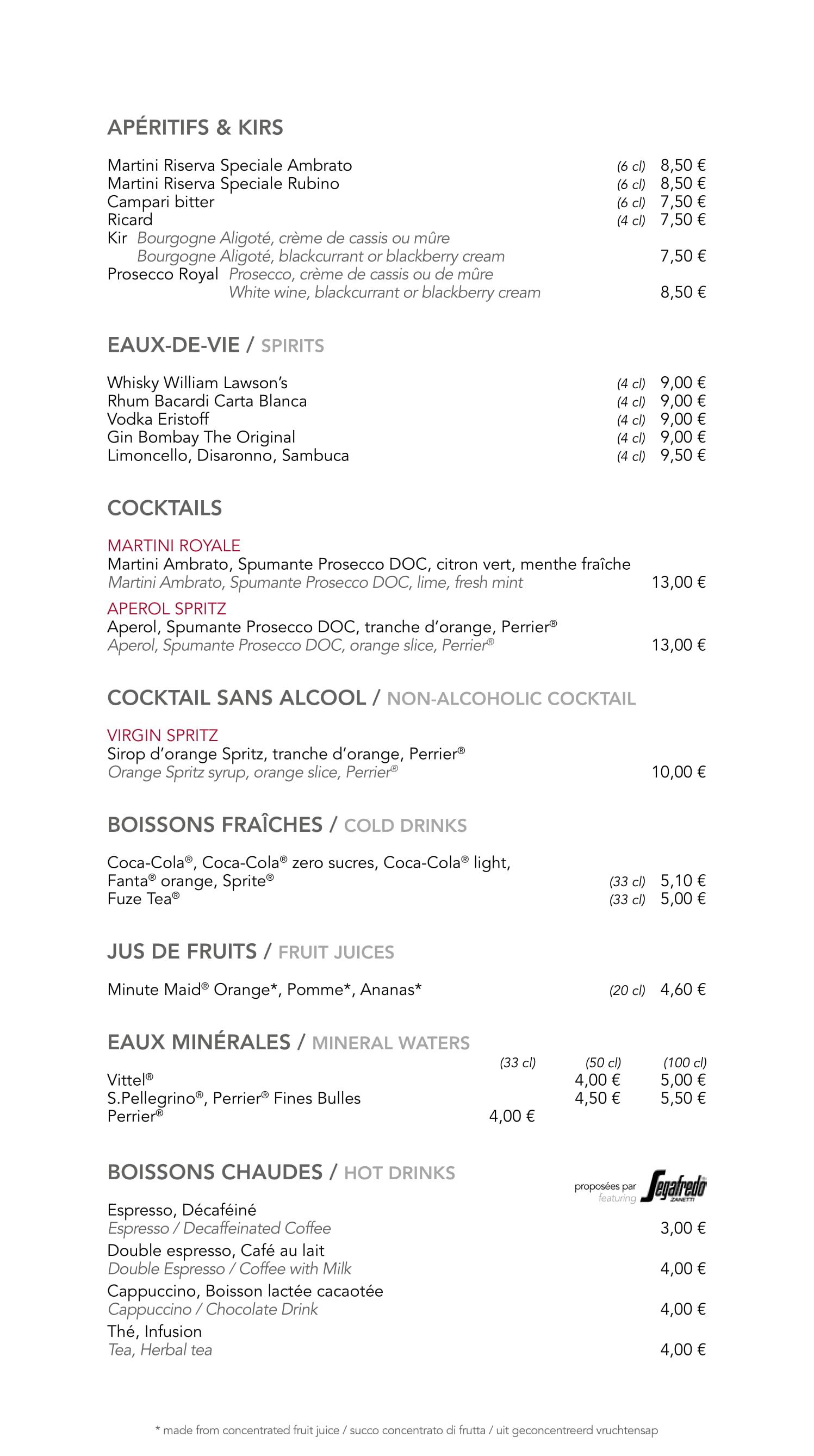 Menu ristoranti servizio al Tavolo Cafemi18