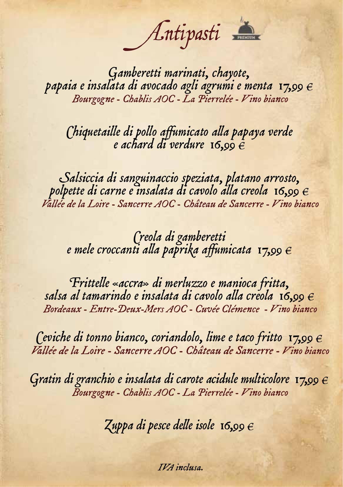 Menu ristoranti servizio al Tavolo Captai15