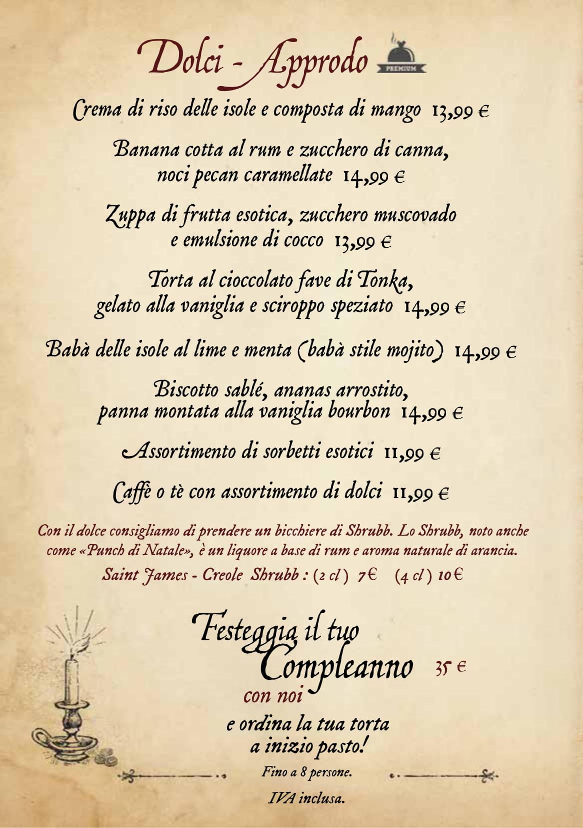 Menu ristoranti servizio al Tavolo Captai16