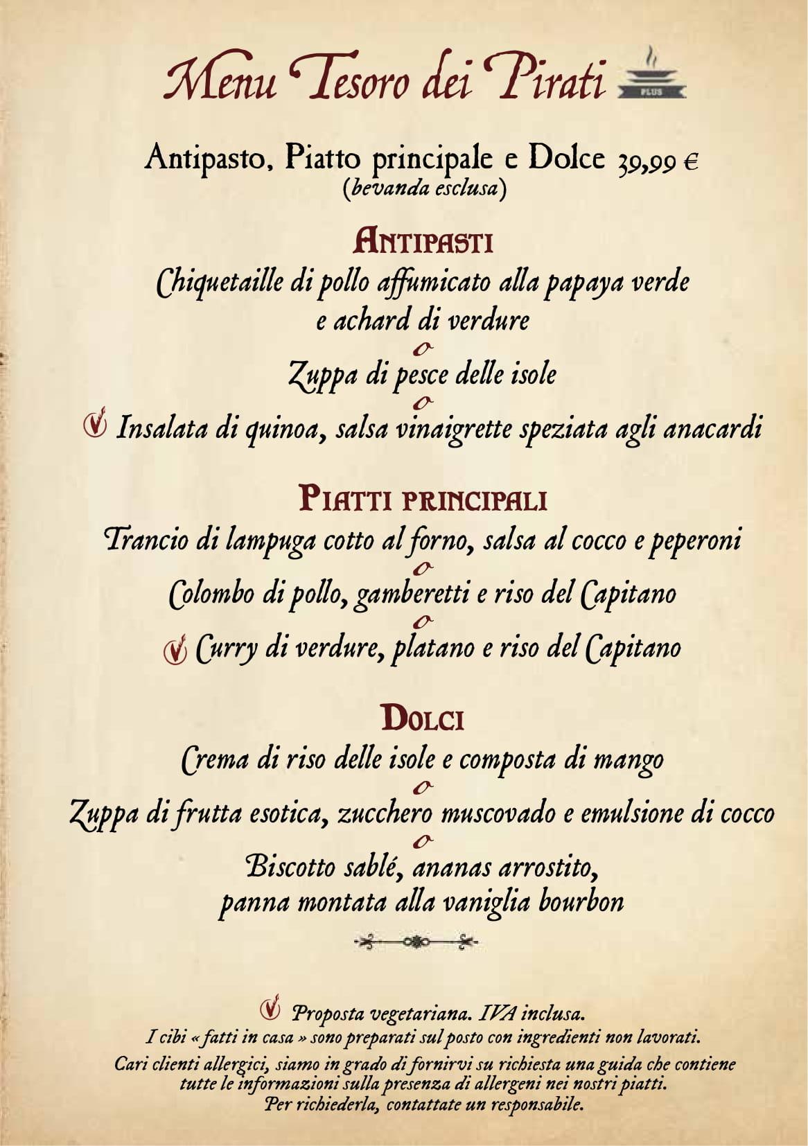 Menu ristoranti servizio al Tavolo Captai17