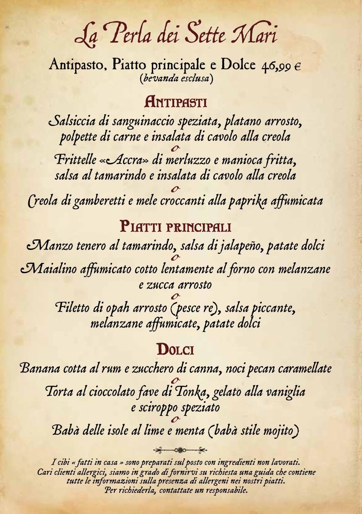Menu ristoranti servizio al Tavolo Captai18