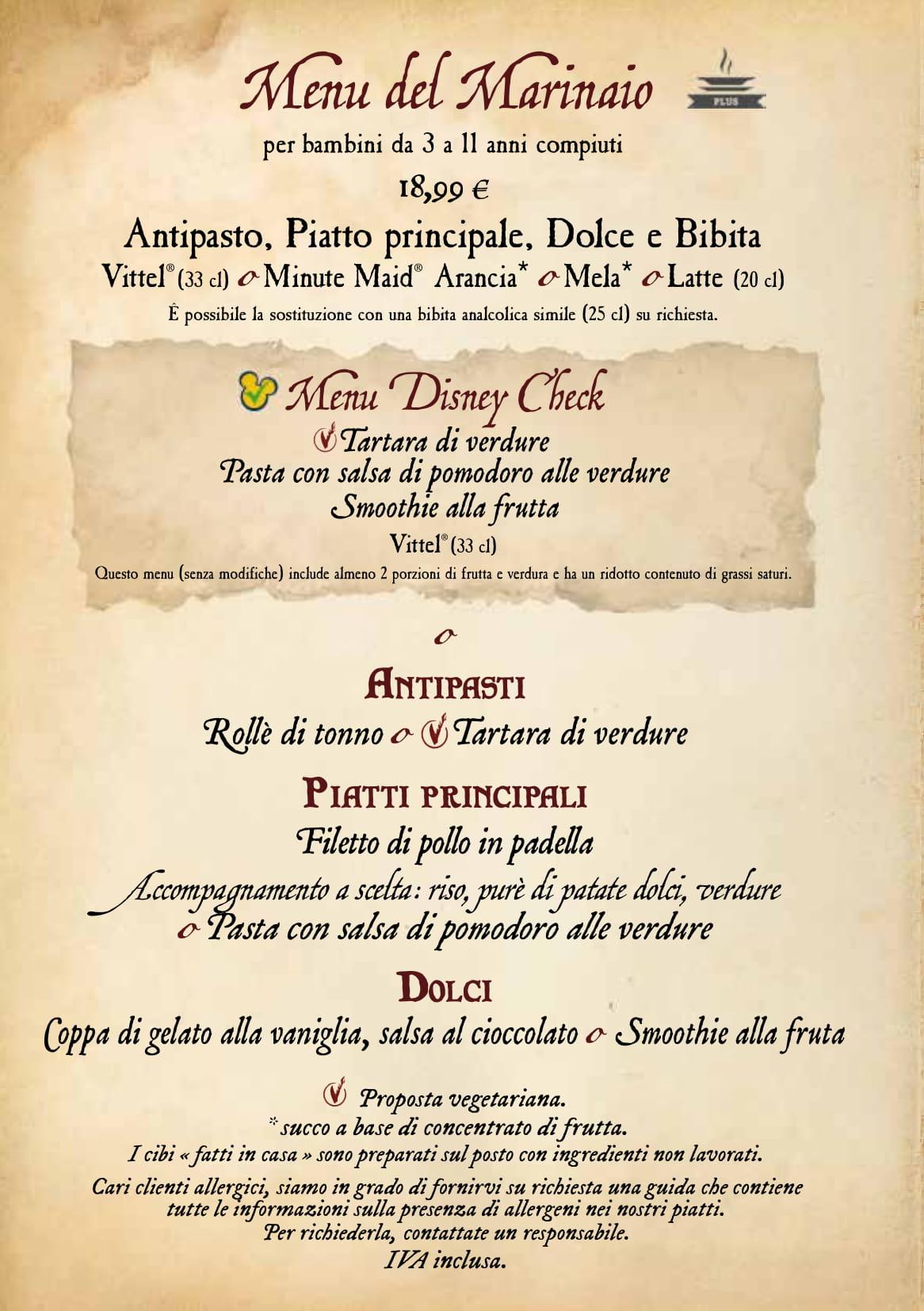 Menu ristoranti servizio al Tavolo Captai19