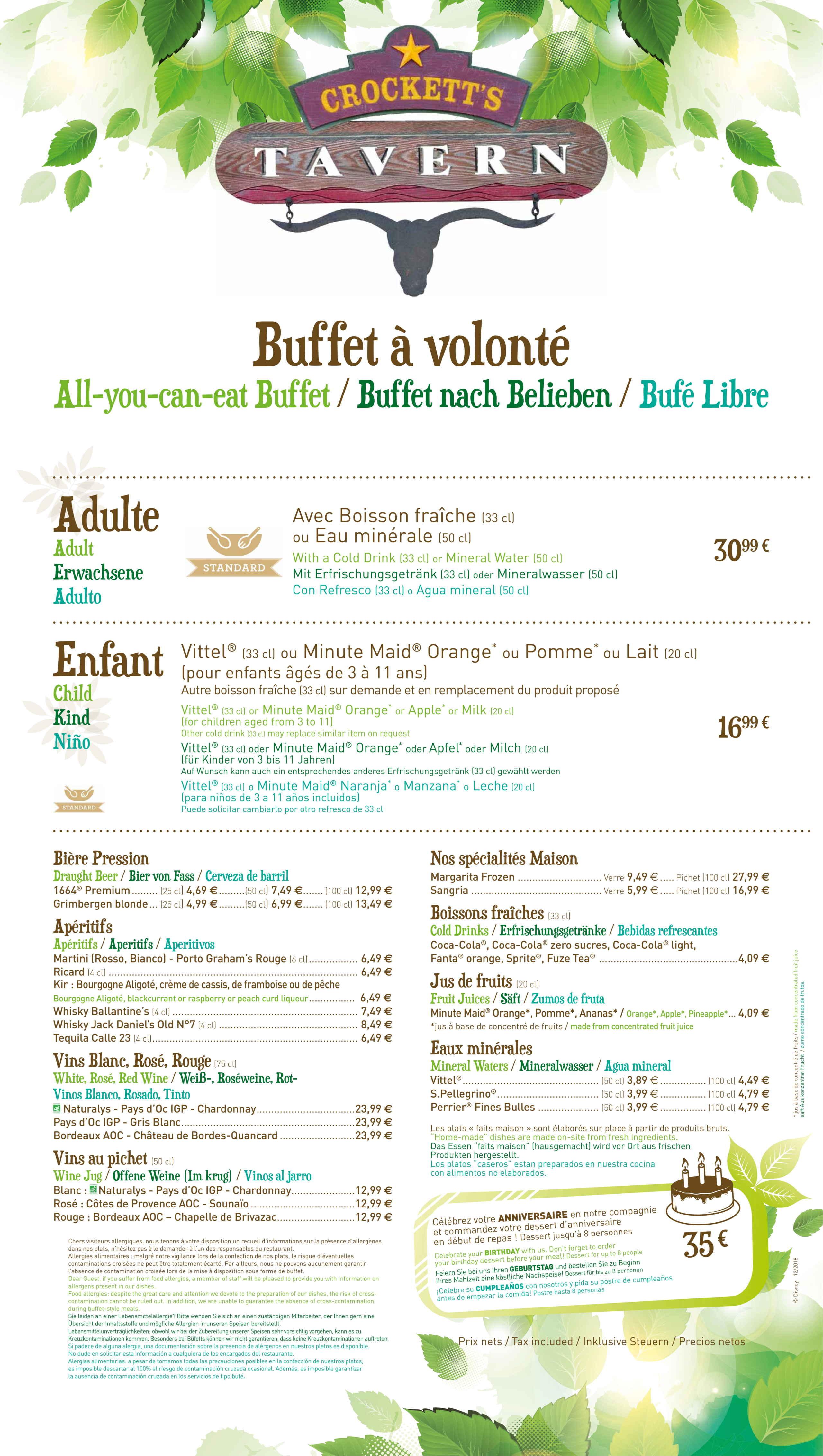 Menu ristoranti servizio Buffet Davy-c10