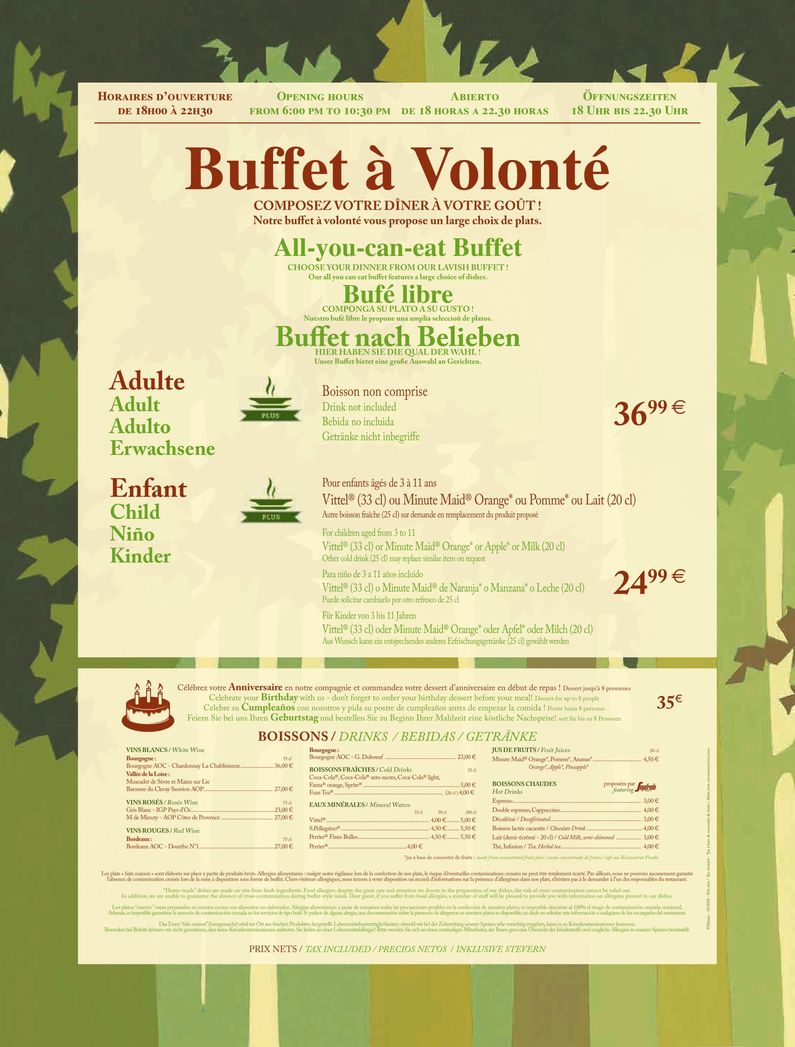 Menu ristoranti servizio Buffet Hunter11