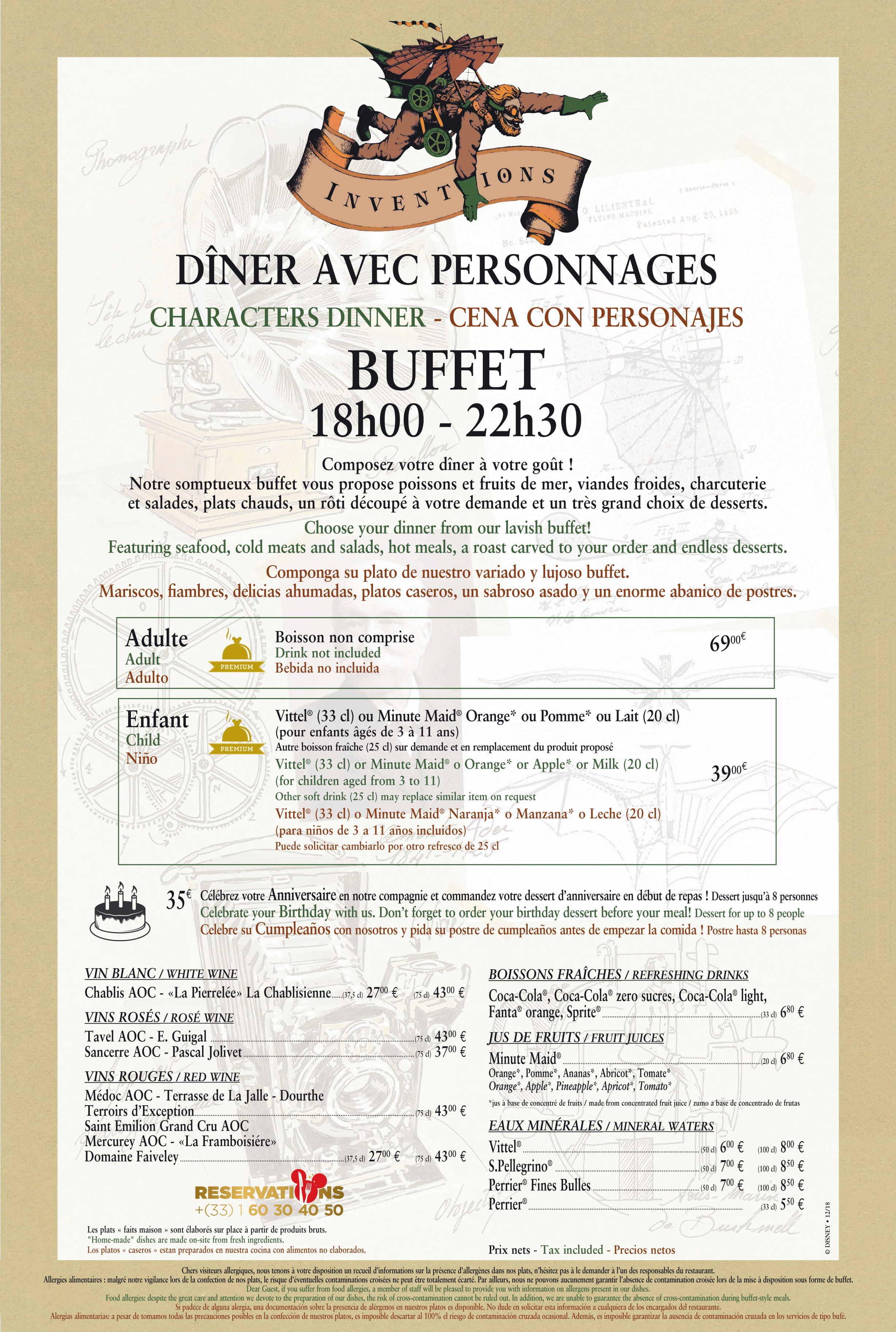 Menu ristoranti servizio Buffet Invent10