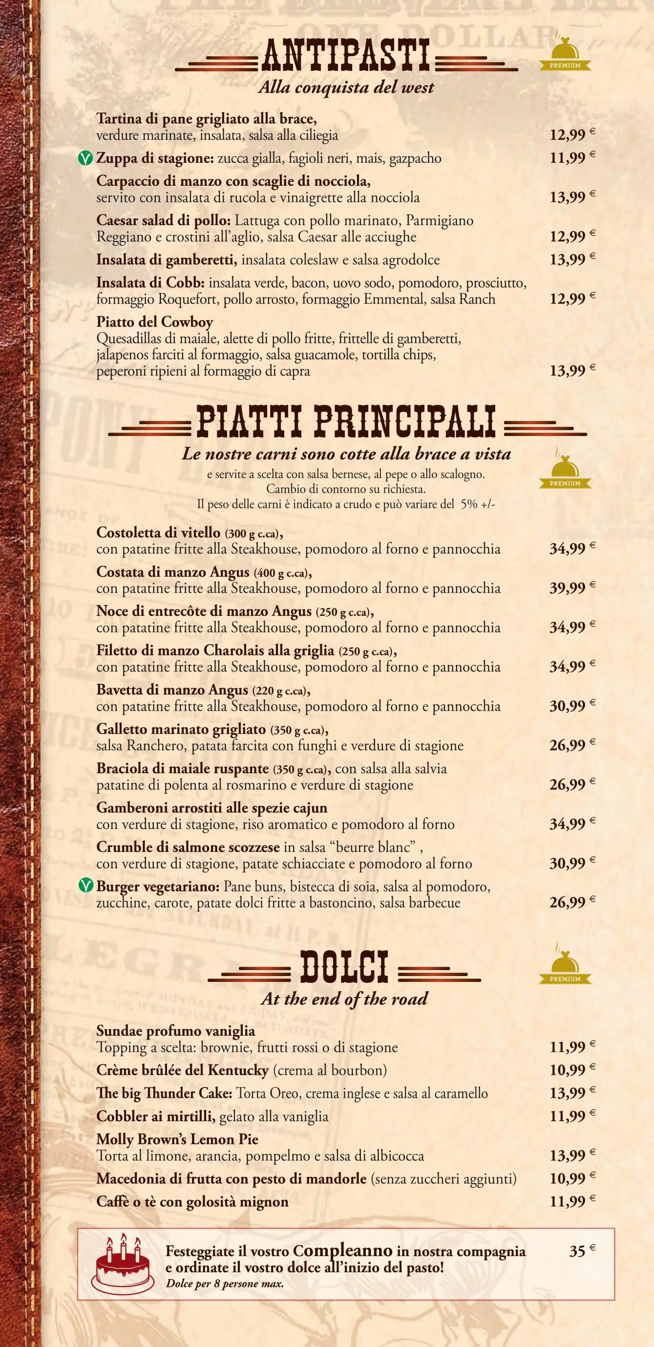 Menu ristoranti servizio al Tavolo Silver13