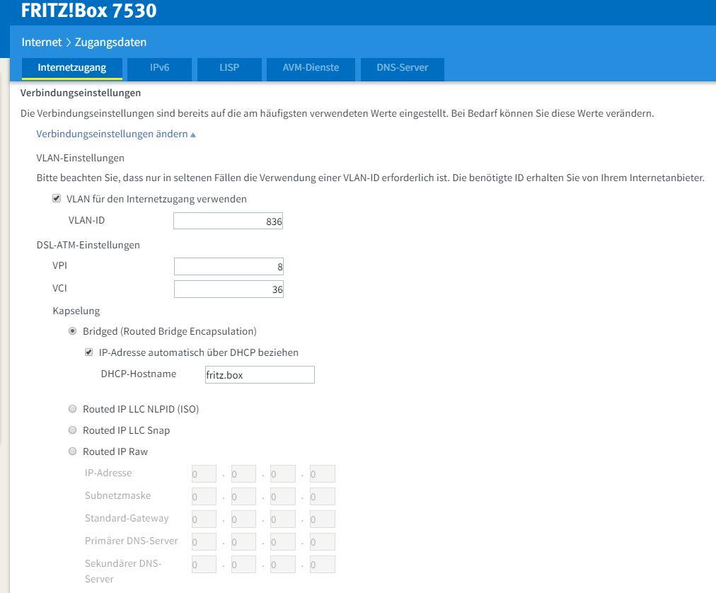 FTTC con Fritz!Box 7530 e Fastweb 110