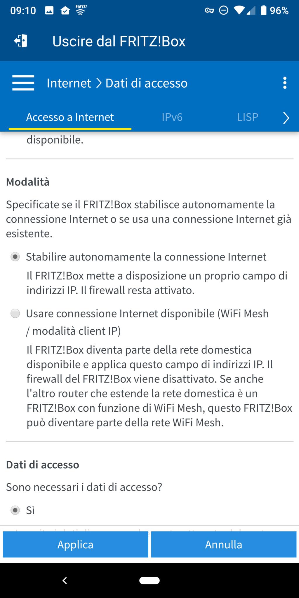 Richiesta aiuto per  FRITZ!Box 7490 come modem principale su rete Vodafone FTTH 210