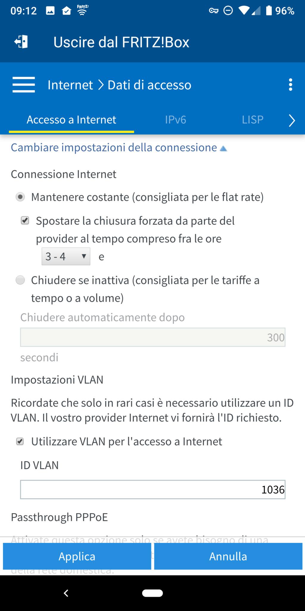 Richiesta aiuto per  FRITZ!Box 7490 come modem principale su rete Vodafone FTTH 410