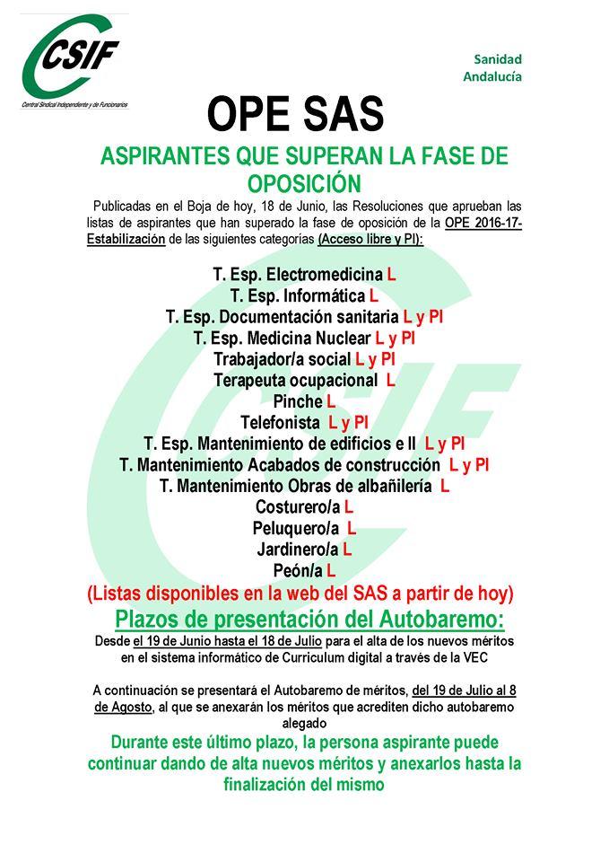 Listados aspirantes que superan Nota Corte OPE SAS Estabilización: varias categorias Ope_sa11