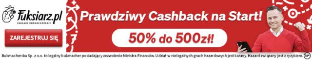 Fuksiarz.pl oferuje CashBack 500 bez obrotu Asasat10