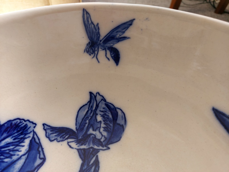 Hand painted bowl - Iris and wasp - Aesthetic? 20210418