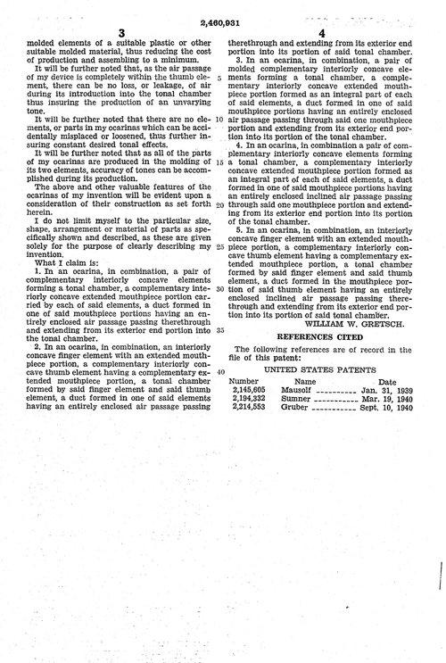 OCARINA  made by Fred. Gretsch Mfg. Co., Brooklyn, N.Y.1940 02460913