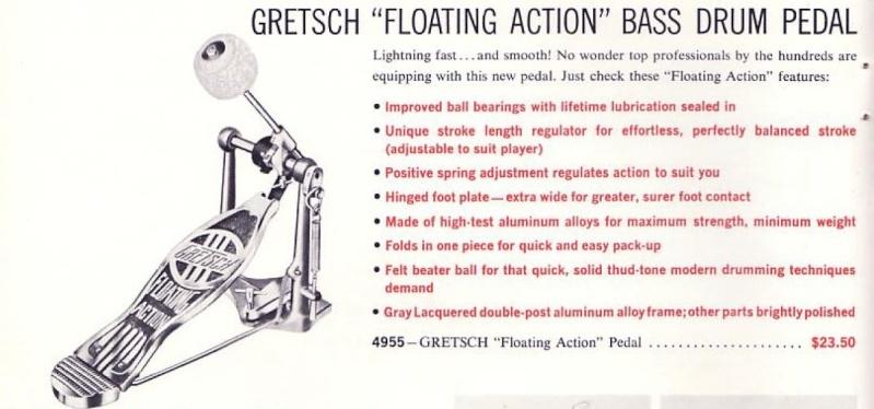 """Vintage Gretsch"""" PEDALS"""" Drum Hihif10"""