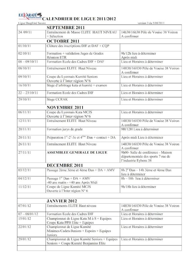 CALENDRIER PREVISIONNEL 2011/2012 Calend11