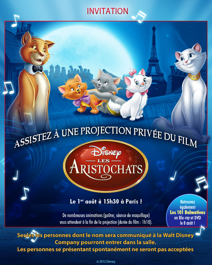 Gagner votre place pour la projection exceptionnelle des Aristochats ! Invitc10