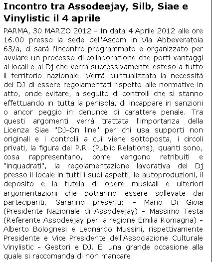Gazzetta di Parma e ParmaOk: attività di ASSODEEJAY 4-APRILE 2012 Parmao10