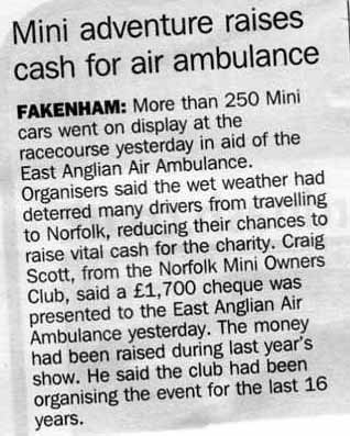 A wet MiniDay and a donation of £1700 to the Air Ambulance Md0810