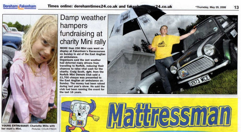 A wet MiniDay and a donation of £1700 to the Air Ambulance Paper10