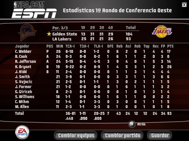 1ª Ronda - 2º Partido Lakers10