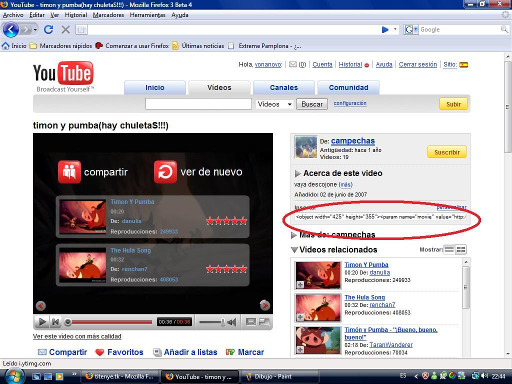 Poner vídeos de youtube Dibujo10