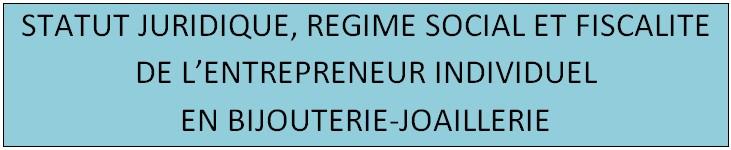 DOCUMENT SUR LE STATUT JURIDIQUE,REGIME SOCIAL ET FISCALITE DE L'ENTREPRENEUR INDIVIDUEL EN BIJOUTERIE-JOAILLERIE 112