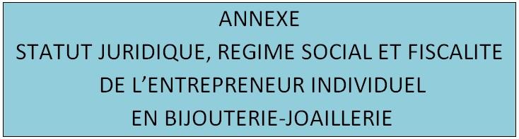 DOCUMENT SUR LE STATUT JURIDIQUE,REGIME SOCIAL ET FISCALITE DE L'ENTREPRENEUR INDIVIDUEL EN BIJOUTERIE-JOAILLERIE 1a12