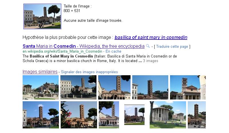 Défis Google: Recherche d'images à partir d'une Image Rome4g10
