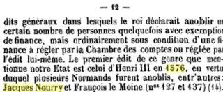 de Nourry: Armoiries, fief de GrandVal et Anoblissement A13