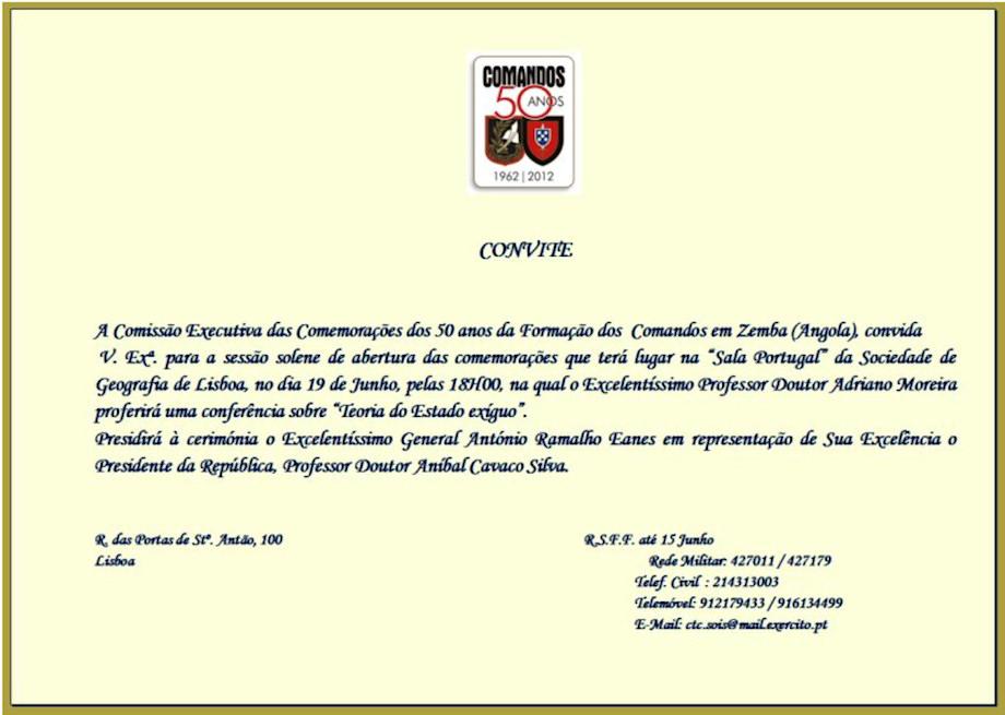 Comemorações dos 50 Anos, da Formação dos 'Comandos' em Zemba (Angola) 1962 - 2012 20120610