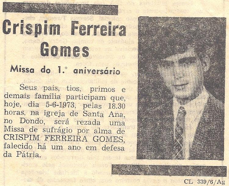 Foi há 40 anos, 5Jun1972, faleceu o Furriel Mil.º de Infantaria Crispim Ferreira Gomes, da 3ª/BCac20 5ananc10