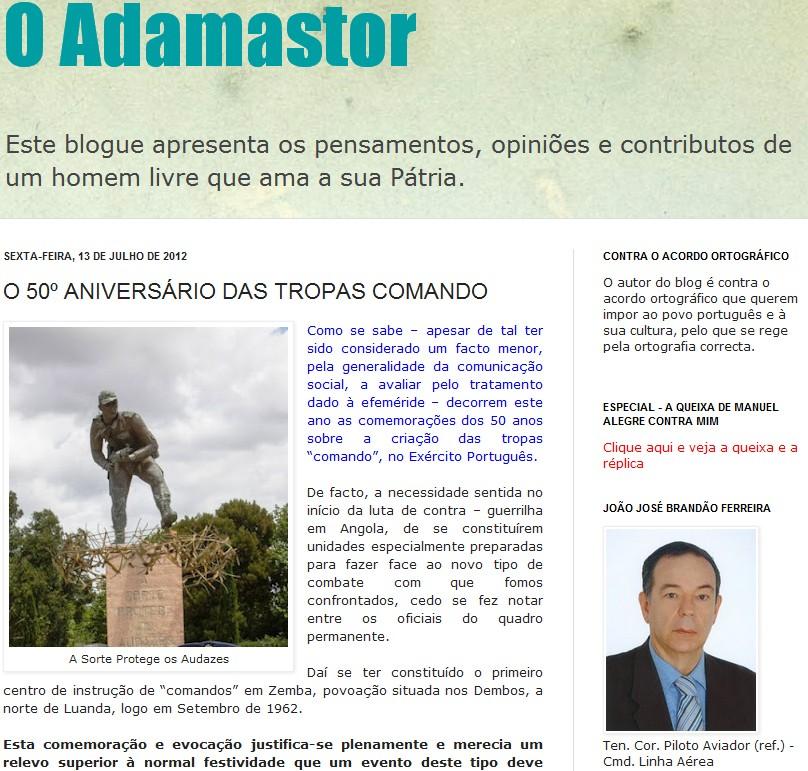 «O 50º Aniversário das Tropas 'Comando'» autor: Brandão Ferreira, Ten-Cor Pilav (Ref.) Adamas10