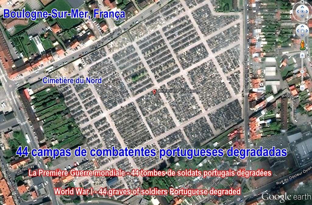 «Campas de combatentes portugueses degradadas», cemitério de Boulogne-Sur-Mer, no Norte de França Cemite10