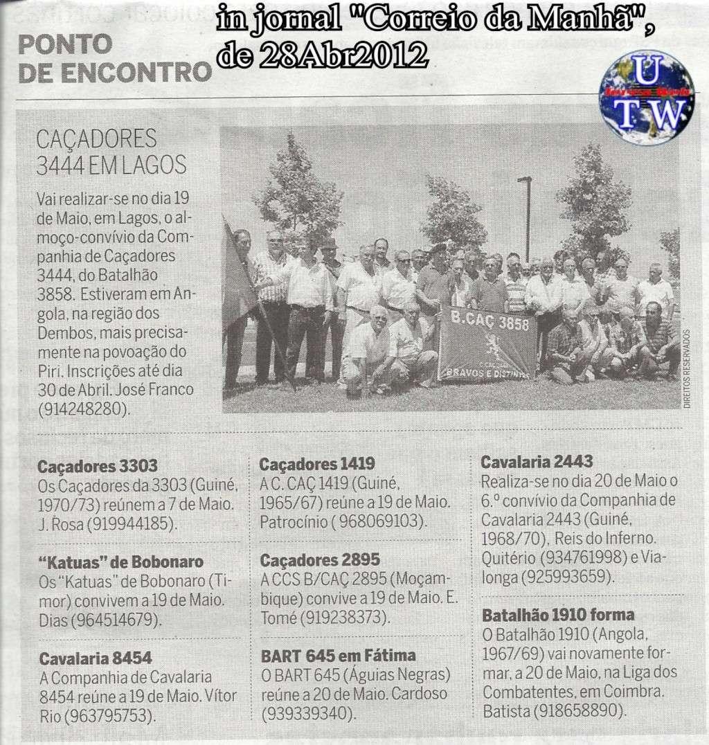 Encontros Convívios de Antigos Combatentes, in Correio da Manhã, de 28Abr2012 Correi12