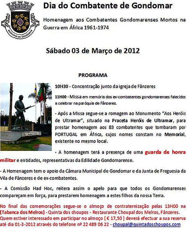 Homenagem aos Combatentes Gondomarenses Mortos na Guerra em África 1961 > 1974 Gondom10