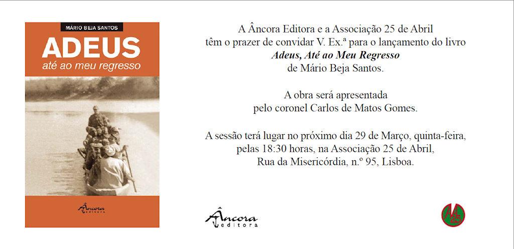 """Convite: Lançamento do livro """"Adeus, Até ao Meu Regresso"""" de Mário Beja Santos Image211"""