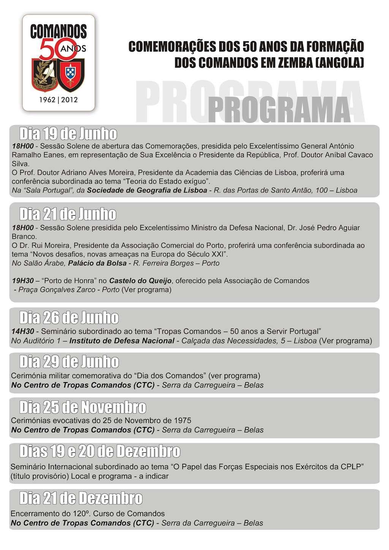 Comemorações dos 50 Anos, da Formação dos 'Comandos' em Zemba (Angola) 1962 - 2012 Progra10