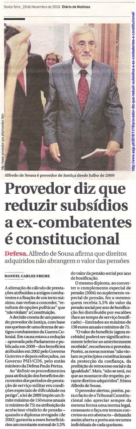 Provedor diz que reduzir subsídios a ex-combatentes é constitucional Proved10