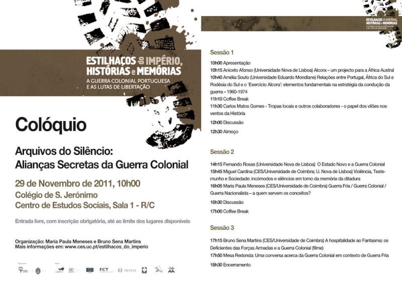 Colóquio: Arquivos do Silêncio: Alianças Secretas da Guerra Colonial  Silenc10