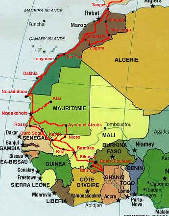 Récit d'un voyage en Afrique à bord d'une 2CV 2006 Carte-11