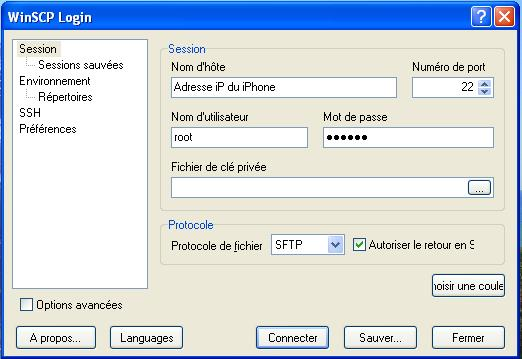 winscp pour iphone 4