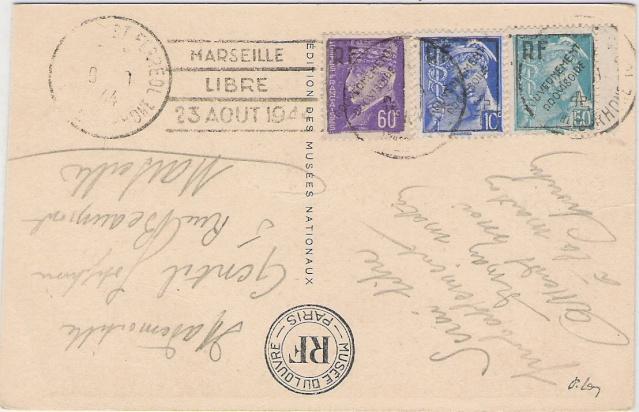 """Timbres surchargés """" RF GOUVERNEMENT PROVISOIRE + Croix de Lorraine """" ? Cp_mar10"""