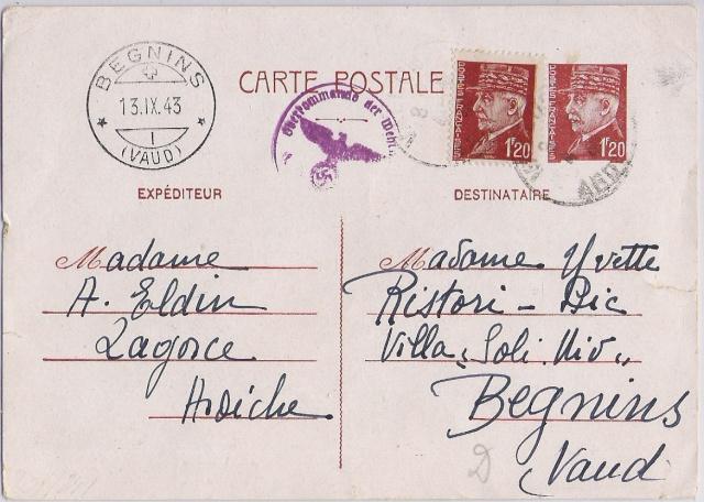 Utilisation des entiers Iris et Pétain et cartes interzones hors de France Entier10