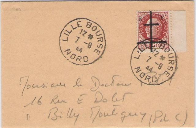 Timbres de la libération de Lille (oblitérations sur lettre). Envelo11