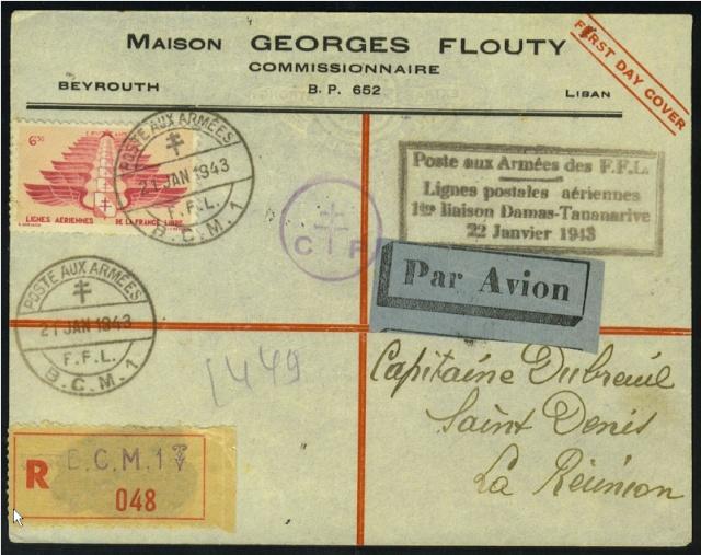 PREMIERE LIAISON AERIENNE DAMAS – TANANARIVE   22.01.1943. Envelo14