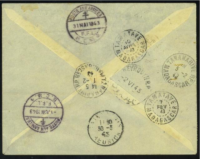 PREMIERE LIAISON AERIENNE DAMAS – TANANARIVE   22.01.1943. Envelo15